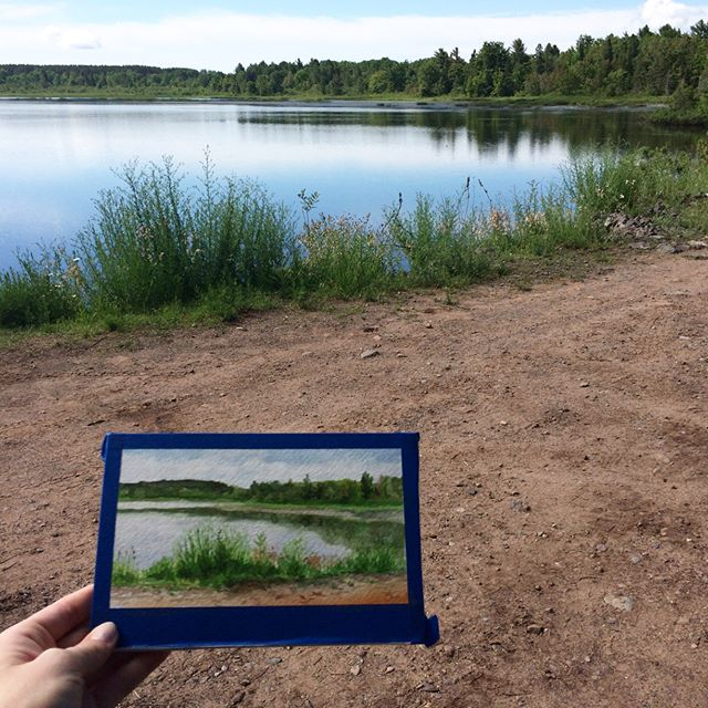 "Painting in ""Da U.P."". Fishing and painting this week in this lovely place.  #painting #watercolor #daup #theupperpeninsula #michigan #landscape"