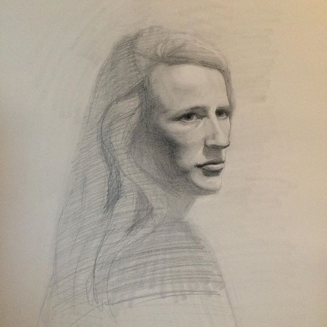 Tuesday portrait sketch. Not sure how many more of these sessions I can do, but I'm grateful for each one! #portait #sketch #drawing #bixbypainters #bixbylibrary #vergennes #vtartist
