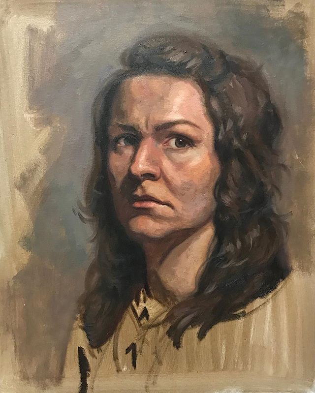 TBT: a few years ago I made an attempt at a self-portrait. This is the super rough product of that attempt. I think it's time to try again, and to be a little kinder to myself 😂 #artistconcentrationface