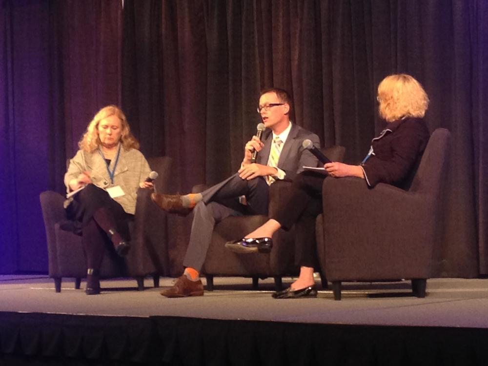 "EHF Vice President of Programs Kristen West Fisher (far right) moderates ""A Report on Medicaid Integration"" with panelists Nathan Johnson (center) and MaryAnn Lindeblad (far left) of the Washington State Health Care Authority at the 2015 Inland Northwest State of Reform Conference on Sept. 15, 2015."