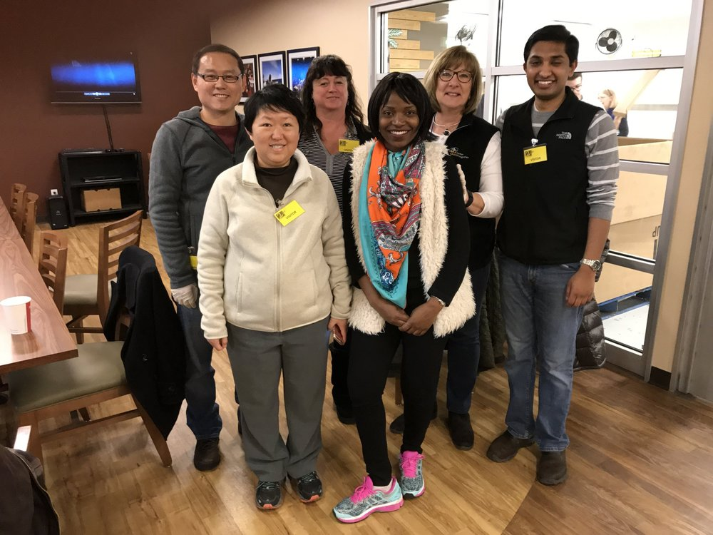 EHF program employees Sam Song, Wendy Xue, Shannon Selland, Christina Kamkosi, Rita Mykelburg and Justin Botejue volunteer for Bite2Go!