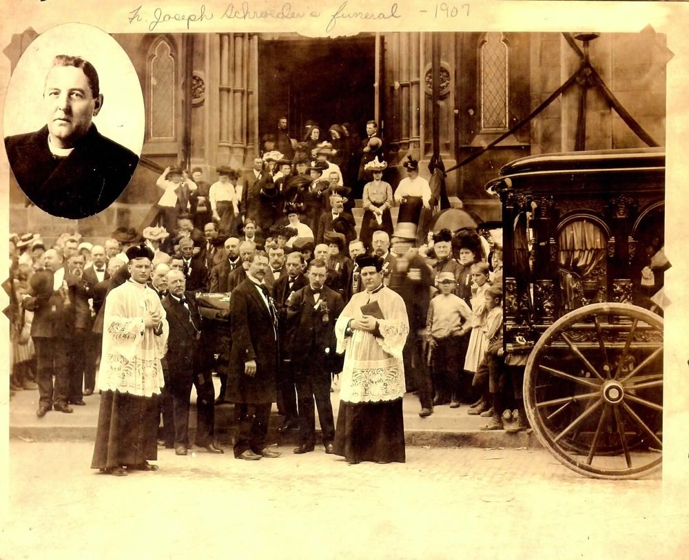 1907    Funeral for Father Joseph Schroeder, pastor at Holy Trinity from 1887 to 1907