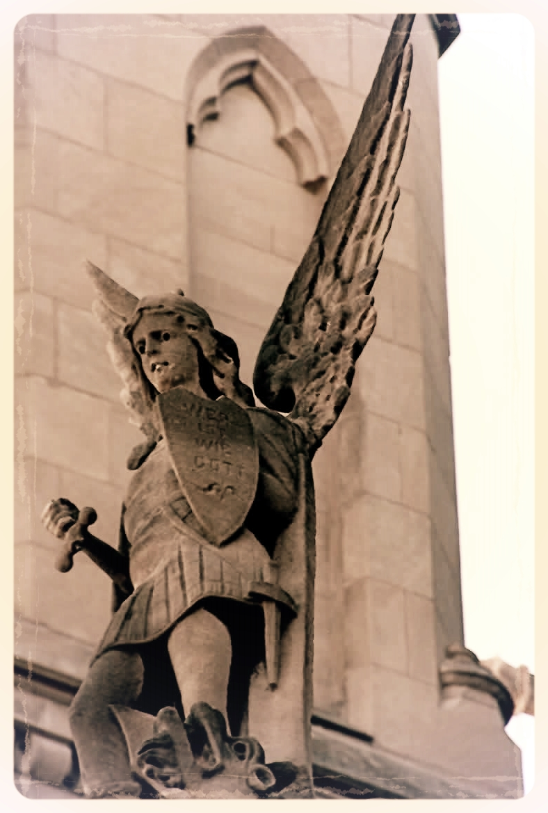 1927  This statue of St. Michael the Archangel survived the tornado, but lost one arm and one wing.  The pastor at the time declared that, since St. Michael had failed to protect the church, his statue would not be repaired.  It remains broken to this day.