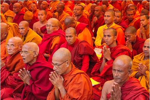 Buddhist monks in meditation