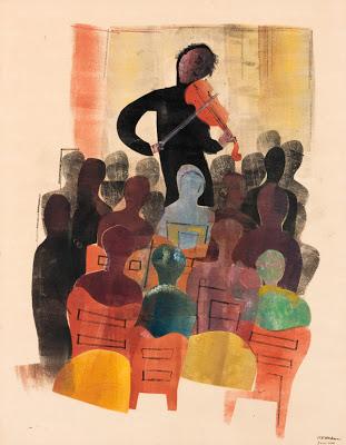H.N. Werkman, violist en publiek, 1942, Groninger Museum