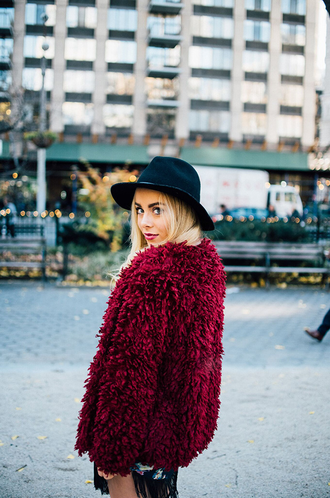 Mission Lane's   Heidi Fluffy Jacket  ; Image via   Mimosas and Manhattan ; Photo by  Laurel Creative.