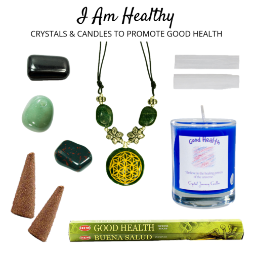 I Am Healthy Crystals Candles To Promote Good Health