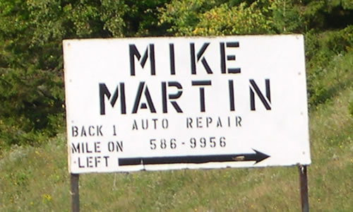 Mike Martin Auto Repair   Towing & repairs   1301 Town Line Rd   Craftsbury   VT 05826   Phone: (802) 586-9956