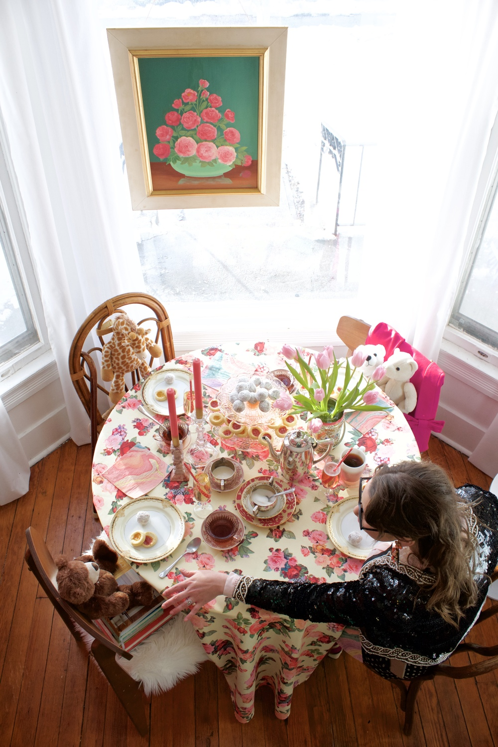 Grown-Up Valentine Tea Party with Stuffed Animals