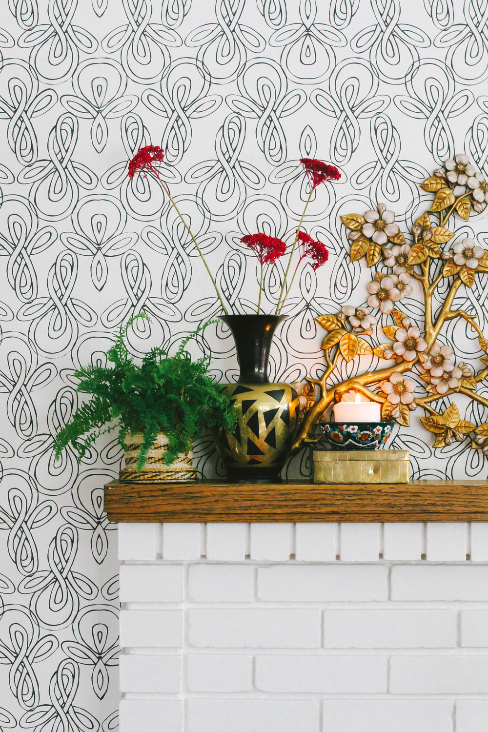 Hygge & West Knots Wallpaper and Mantel Closeup – M Pettipoole