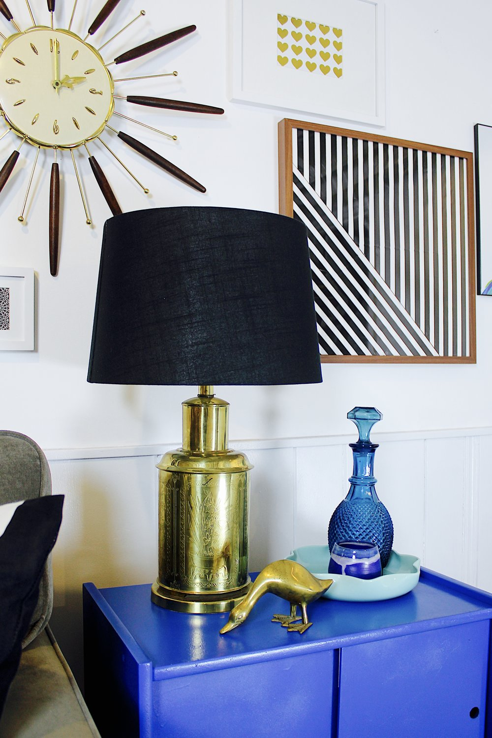 Blue and Brass Gallery Wall with Vintage Mid Century Clock – M Pettipoole