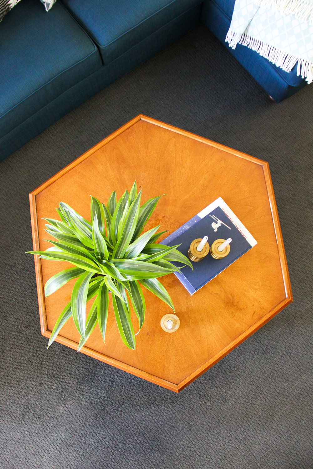Blue Traditional Family Room with Vintage Hexagon Coffee Table