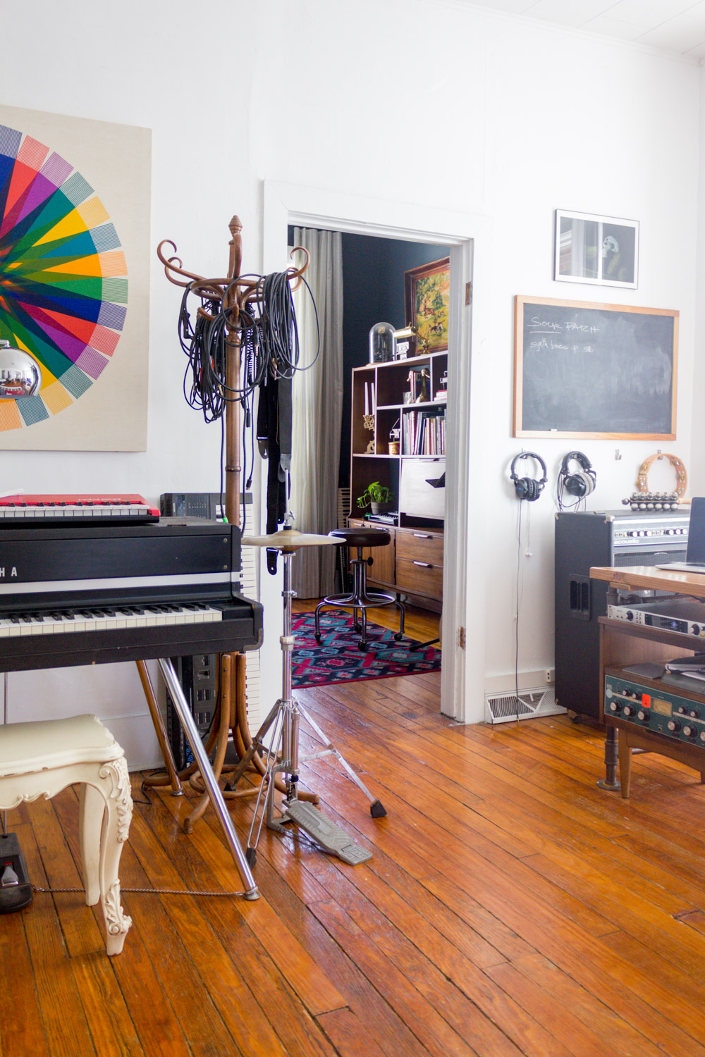 In-home music studio with vintage gear