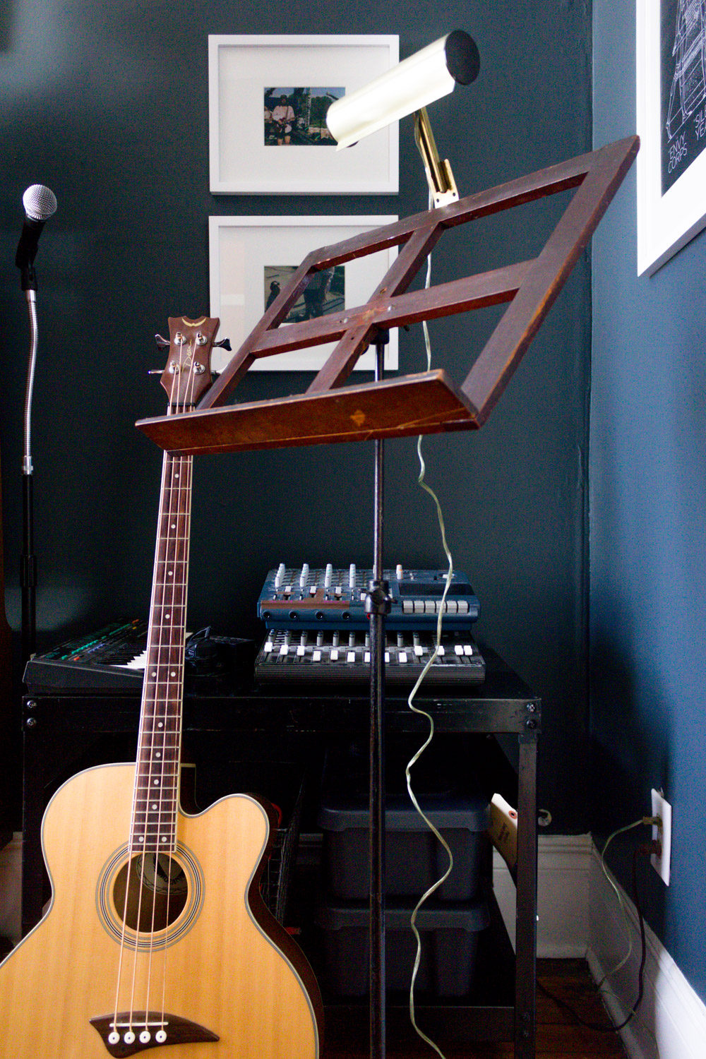 In-home music studio with vintage music stand