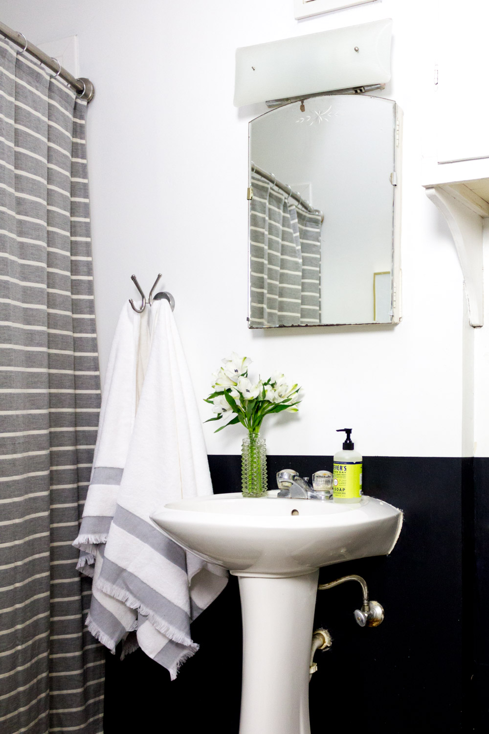 Black and white rental bathroom