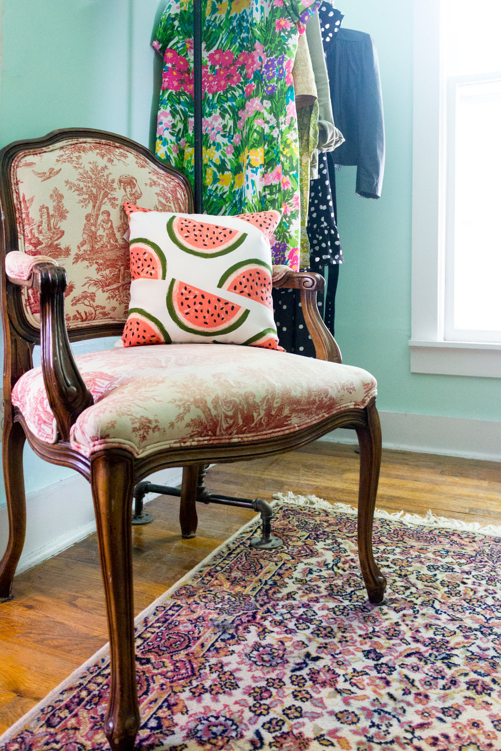 Dressing Room with Toile Antique Chair and Watermelon Pillow