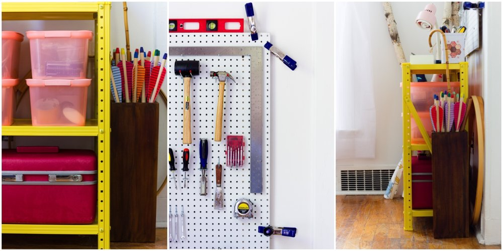 Pegboard and Colorful Tool Storage in Home Office