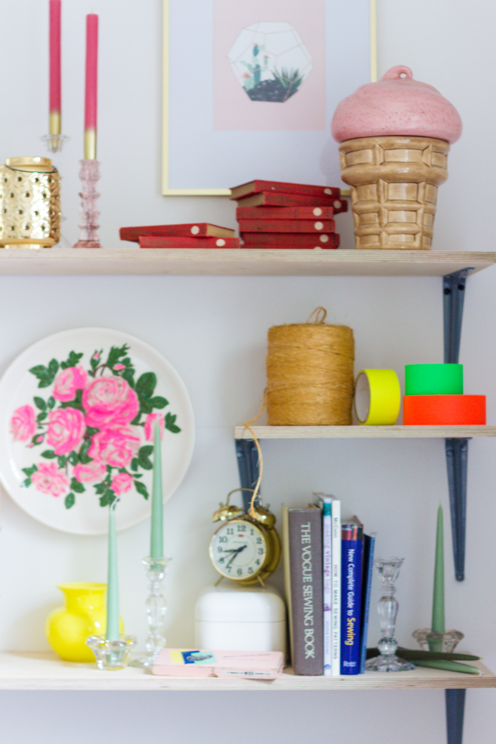Colorful Shelves in Home Office
