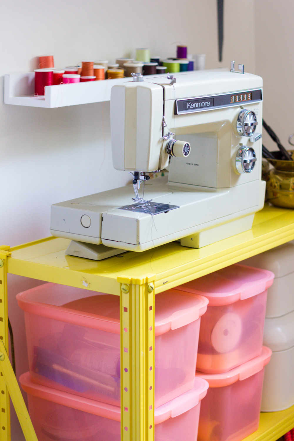 Colorful Thread and Vintage Sewing Machine