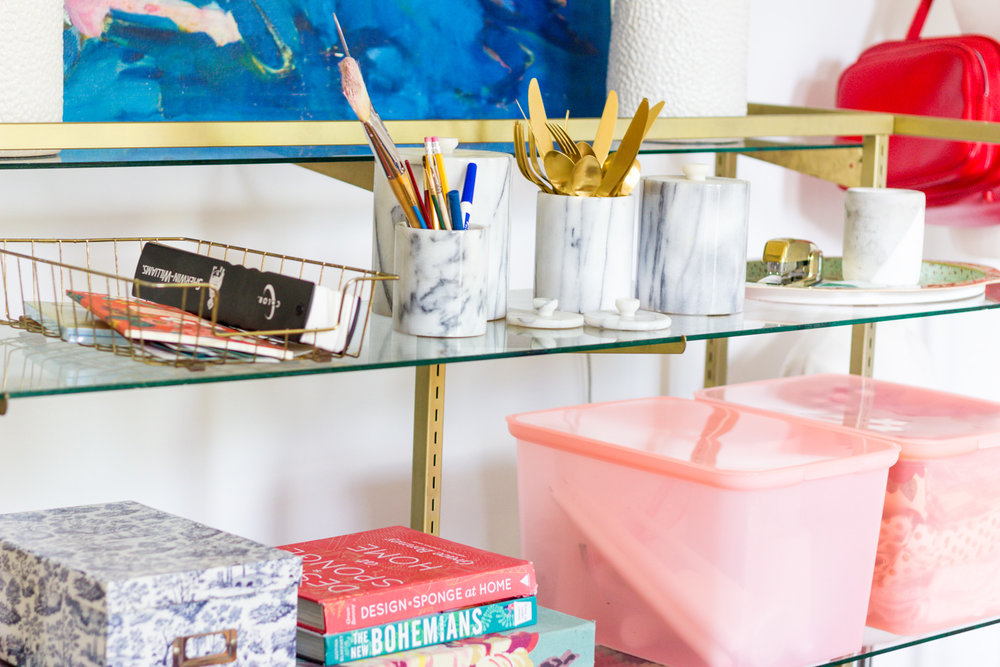 Colorful Home Office with Pink Storage