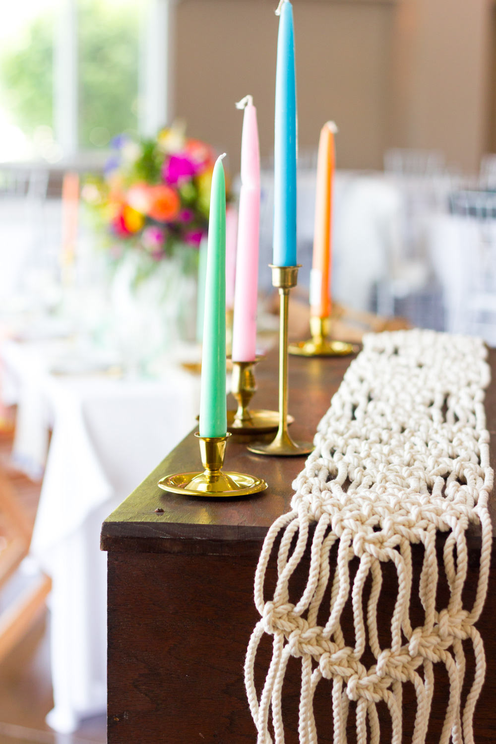 Colorful Candles, Macrame Runner, Bohemian Wedding Table