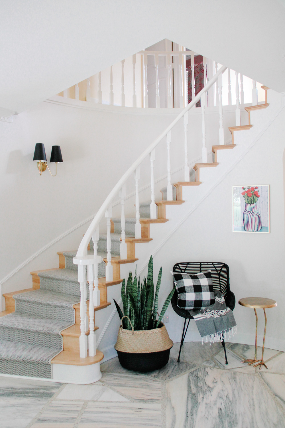 Modern Colonial Entryway with Herringbone Runner