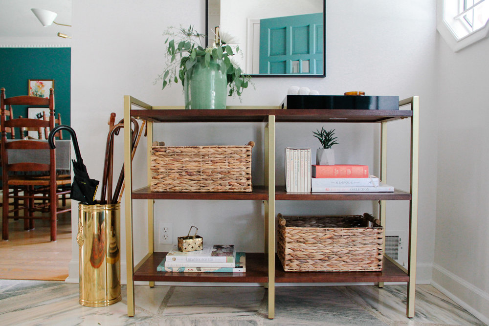 Modern Colonial Entryway Open Shelving