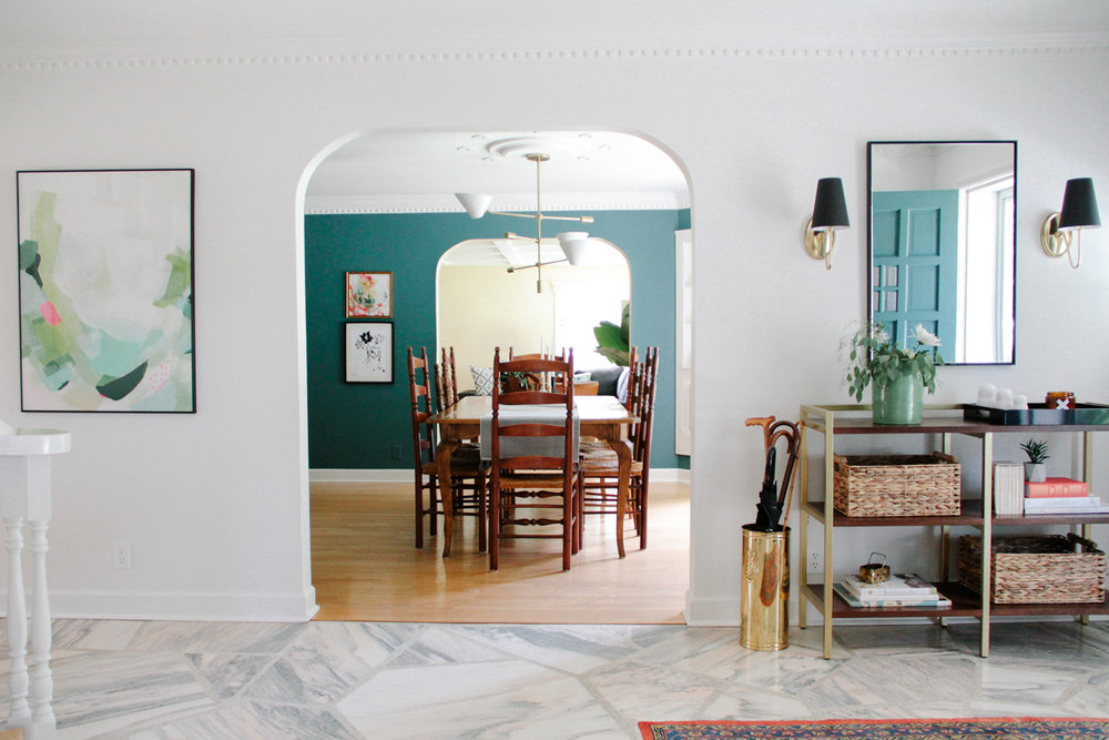 Modern Colonial Entryway with Abstract Art