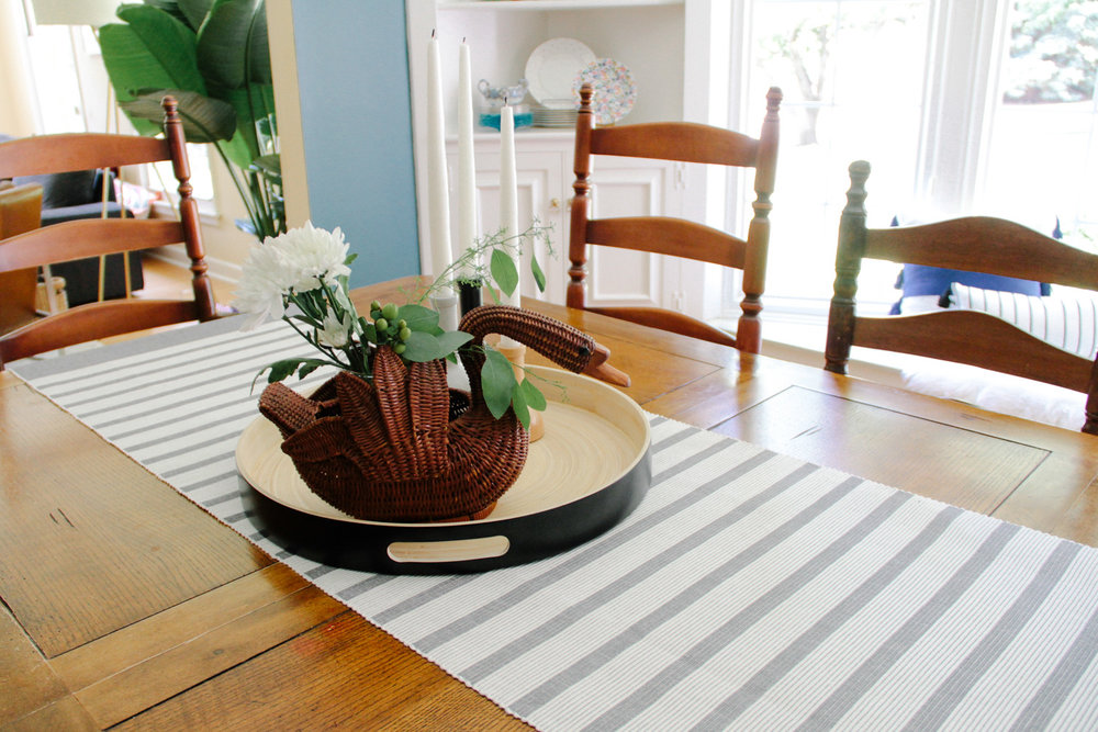 Wicker Swan Flower Basket and Striped Table Runner in Modern Colonial Dining Room