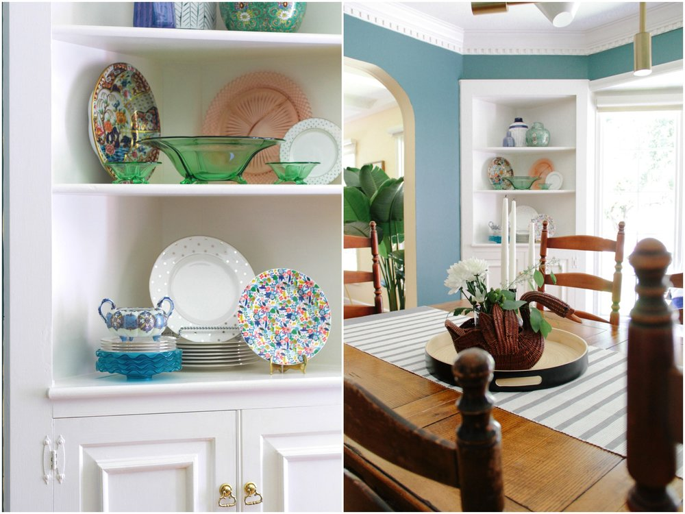 Modern Colonial Dining Room Colorful Built-Ins