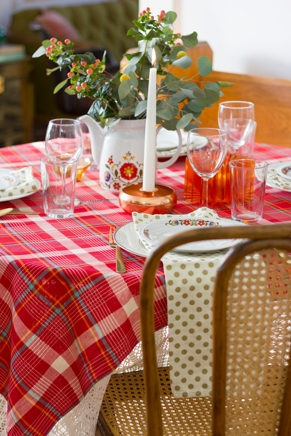 Red Plaid Thanksgiving Table Setting with Vintage Dishes