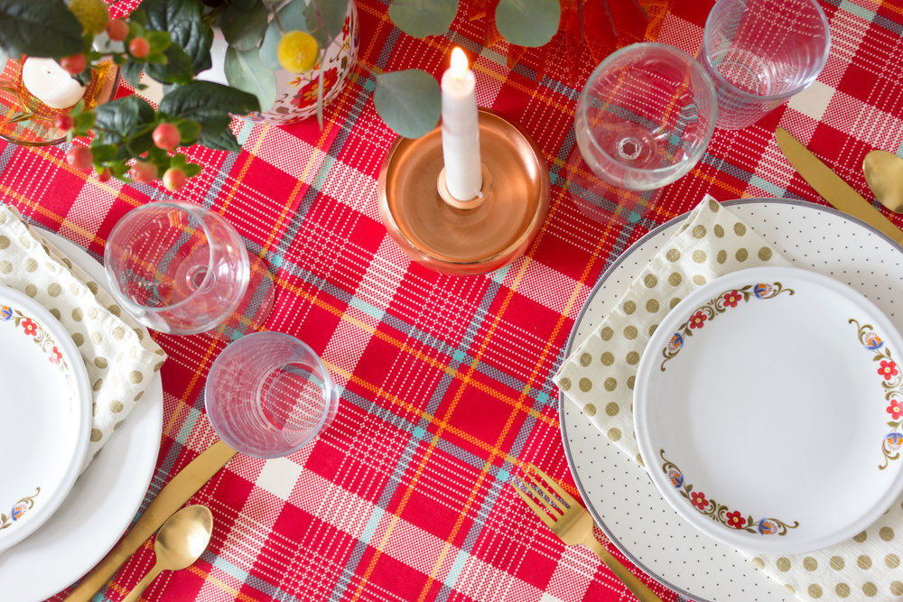 Red Plaid Thanksgiving Table Setting with Vintage Dishes & A Plaid Thanksgiving Table Setting \u2014 M Pettipoole