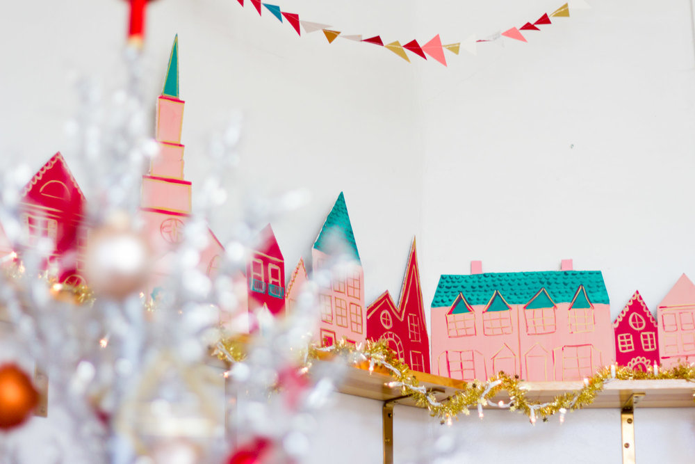 Handmade Pink and Green Christmas Village