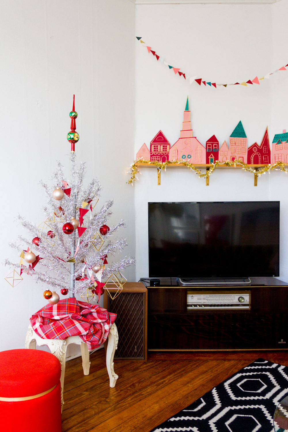 Silver Tinsel Tree and Handmade Red and Pink Christmas Village