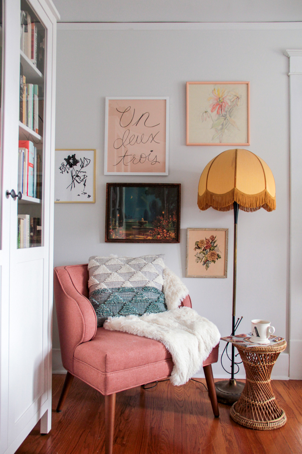 Blush Pink Gallery Wall and Reading Nook in Master Bedroom