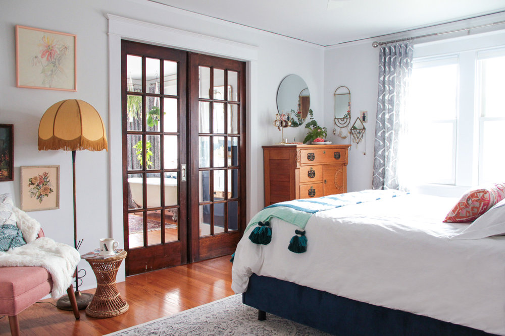 Bohemian Parisian Inspired Master Bedroom with French Doors