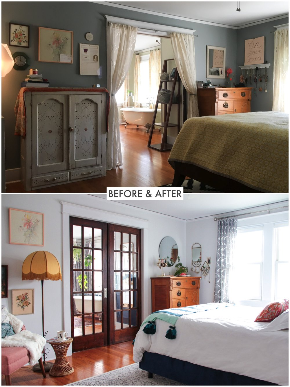 Bohemian Parisian Master Bedroom Before/After