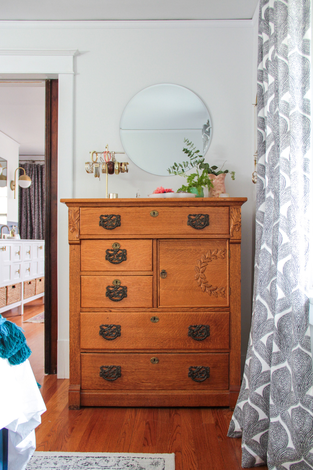 Antique Dresser in Bohemian Luxe Master Bedroom