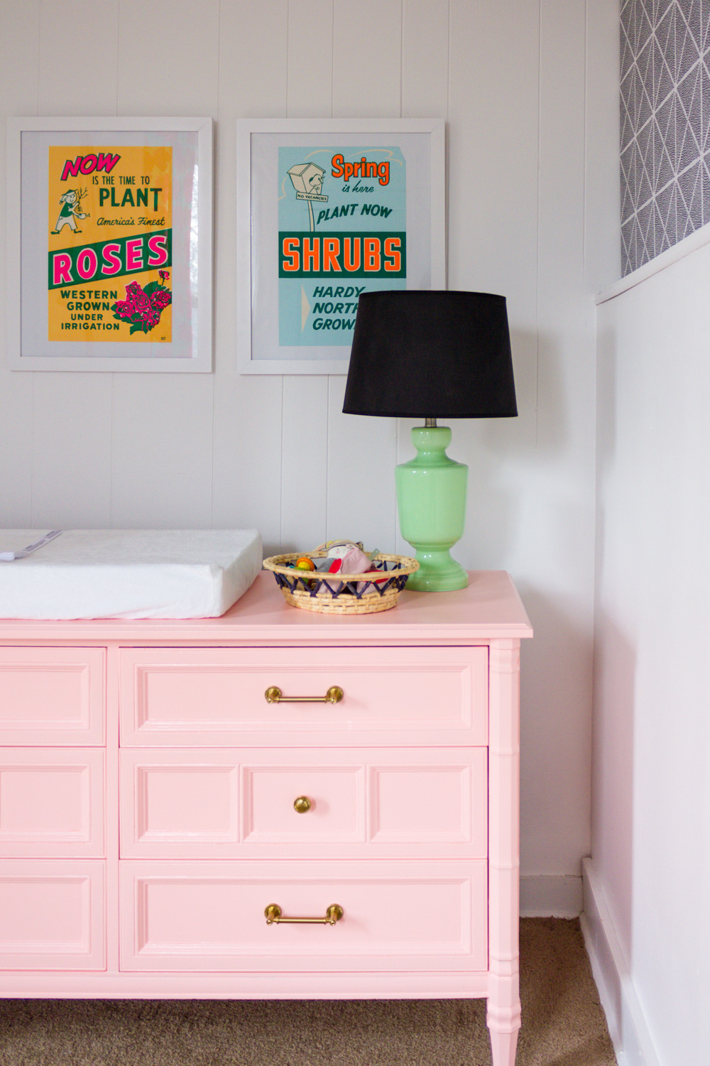 Valspar Peach Whisper painted dresser/nursery changing table makeover, Jadeite lamp