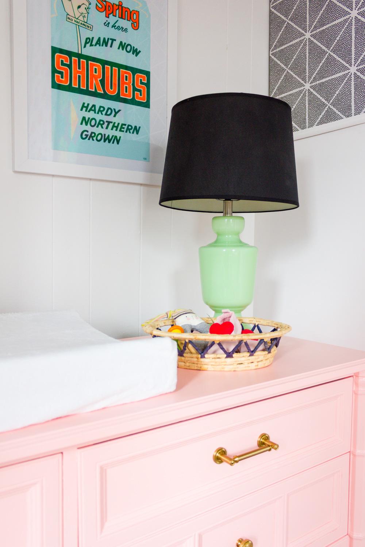 Jadeite lamp on peach painted dresser/nursery changing table
