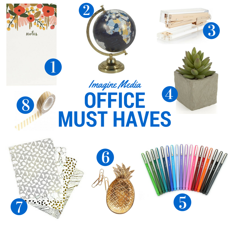 1. Rifle Paper Co. Notepad & Notebooks | 2. Target Globe | 3. Kate Spade Gold Desk Decor | 4. Succulents from West Elm | 5. Le Pen Pens from Paper Source | 6. Anthropologie Desk Accessories | 7. Target Folders | 8. Washi Tape