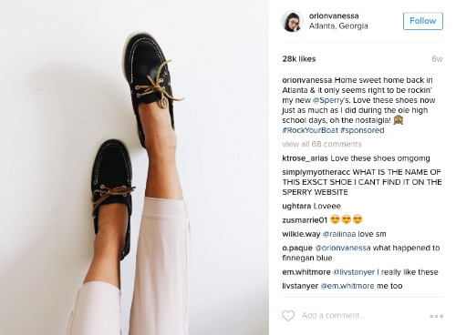 Orion Carloto posing in a pair of gifted Sperry's while her followers comment about wanting the same shoes.