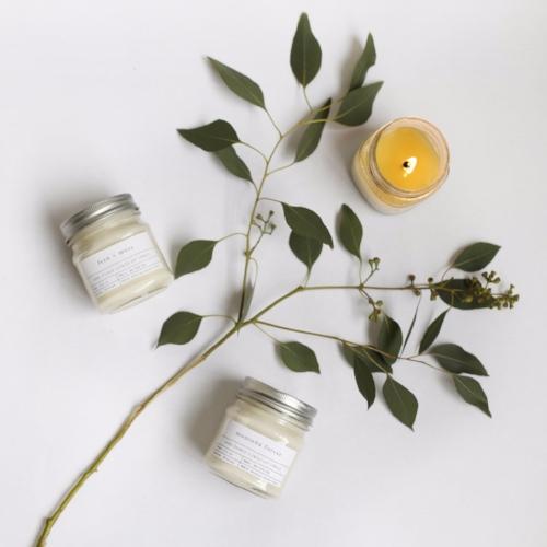 organic flat lay candle