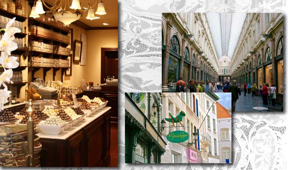 A chocolate shop in Brussels, Brussels shopping center and Belgium lace. Image©gunjanvirk