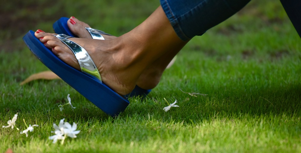 Fancy flip-flops from a local store with Jjill denim. Image©gunjanvirk