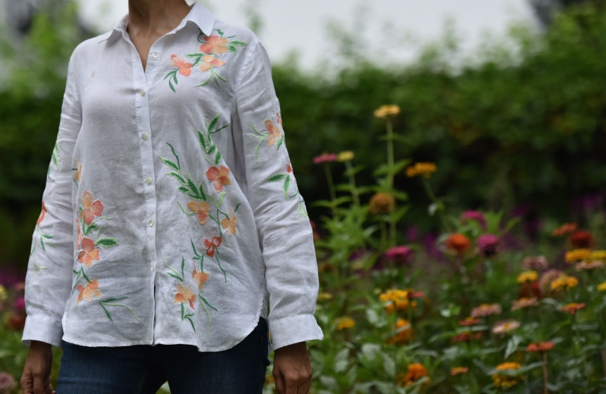 My beautifully embroidered JJill linen big shirt! Image©gunjanvirk