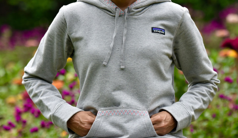 My Patagonia Monk sweatshirt with embroidered front kangaroo pockets, image©gunjanvirk
