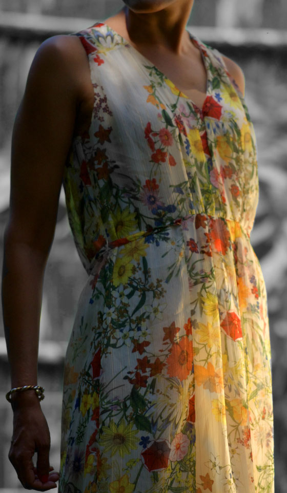 My floral chiffon dress from Zara, image©gunjanvirk
