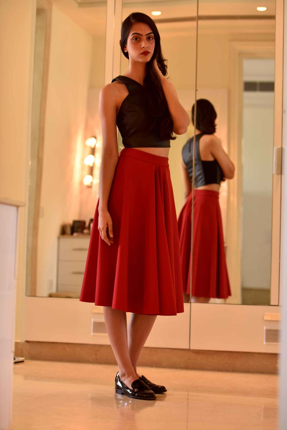 A red full skirt is perfect for fall! Image©gunjanvirk