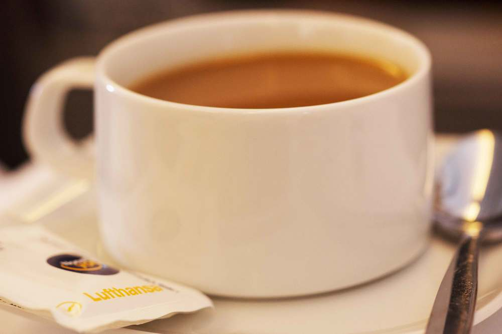 Image©sourcingstyle.com, delicious Dallmyr coffee on board Lufthansa A380 in Business Class.